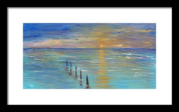 Seascape Framed Print featuring the painting Sunset by Tony Rodriguez