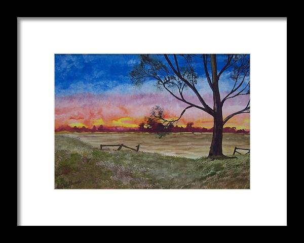 Grass Framed Print featuring the painting Sunset by Tony Williams