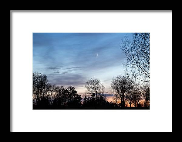 Cold Framed Print featuring the photograph Sunset With Crescent Moon by Greg McGill