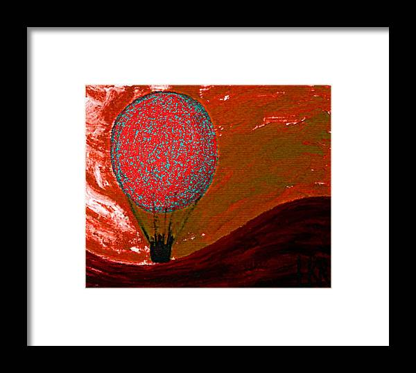 Sunset Framed Print featuring the mixed media Sunset With Red Hot Air Balloon. by Lenka Rottova