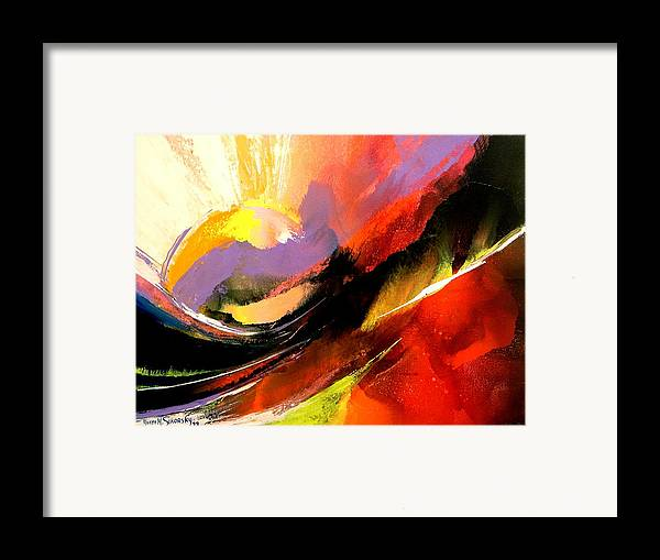 Abstract Framed Print featuring the painting Sunset by Yvette Sikorsky