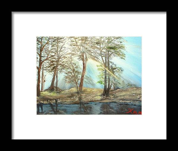 Landscape River Trees Sunshine Reflections Framed Print featuring the painting Sunshine by Kenneth LePoidevin