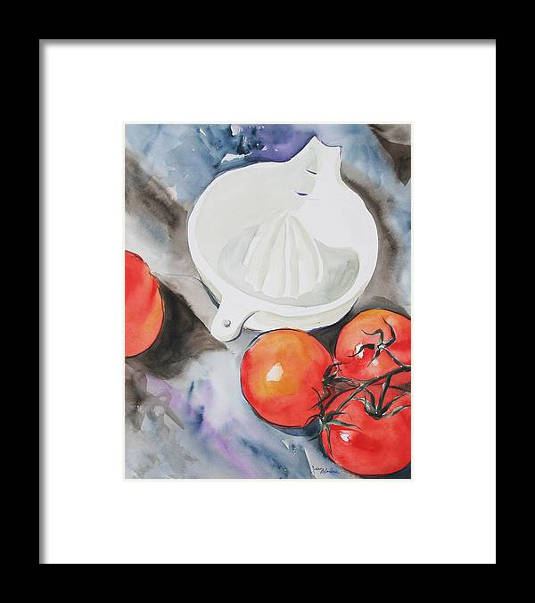 Tomatoes Framed Print featuring the painting Sunshine On The Vine by Jean Blackmer