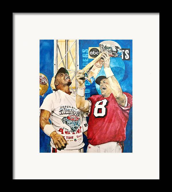 Super Bowl Framed Print featuring the painting Super Bowl Legends by Lance Gebhardt
