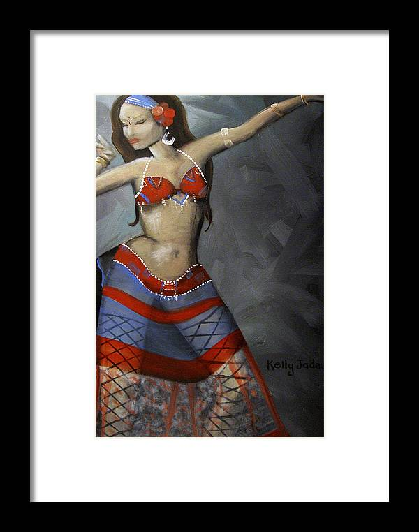Dancer Framed Print featuring the painting Super Dancing Wonder Woman by Kelly Jade King