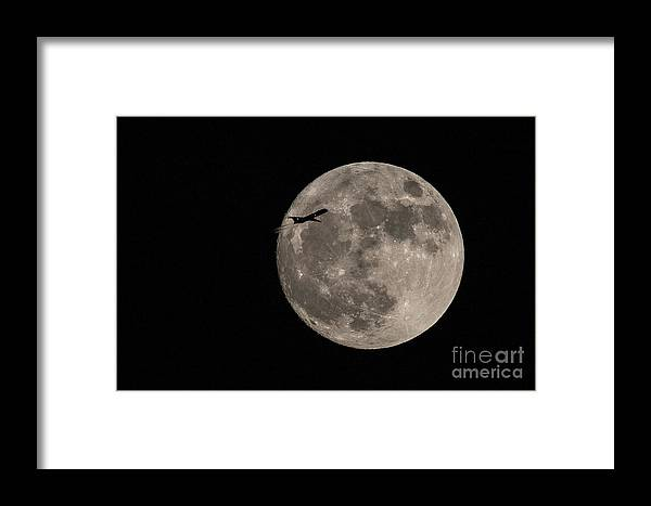 Full Moon Framed Print featuring the photograph Super Moon And Plane by Jennifer Ludlum
