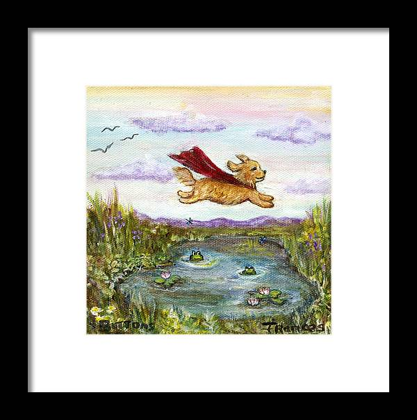 Original Framed Print featuring the painting Superdog Buttons by Frances Gillotti