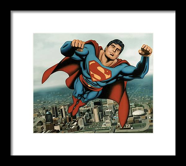 Superman Framed Print featuring the painting Superman by Van Cordle