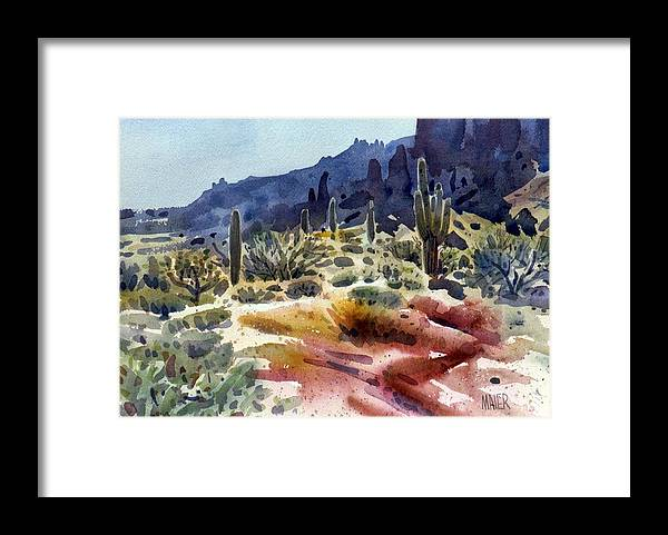 Superstition Mtn. Framed Print featuring the painting Superstition Mountain by Donald Maier