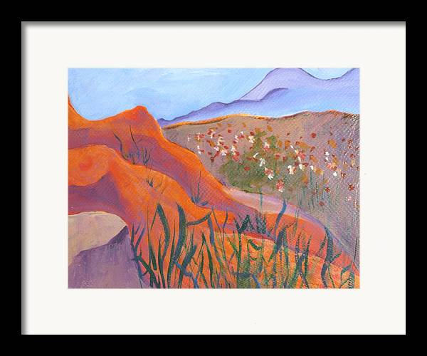 Landscape Framed Print featuring the painting Superstition Spring by Kathy Mitchell