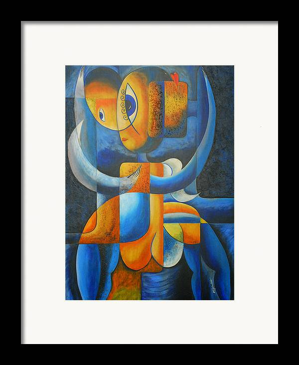 Abstract Expressionism Framed Print featuring the painting Suplication by Marta Giraldo