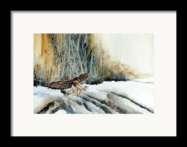 Redtail Hawk & Squirrel Framed Print featuring the painting Supper Maybe by Lynne Parker
