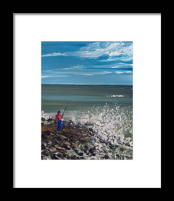 Seascape Framed Print featuring the painting Surf Fishin by Pete Maier