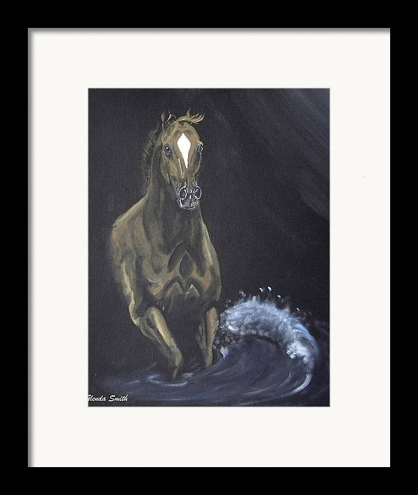 Horse Framed Print featuring the painting Surf Runner by Glenda Smith