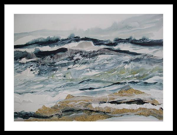 Seascape Framed Print featuring the painting Surf Song by Linda King