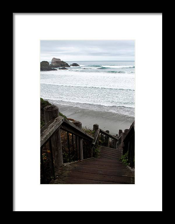 Nature Framed Print featuring the photograph Surf Stairway by Lorraine Devon Wilke
