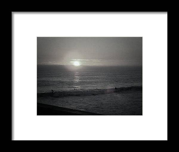 Surfers Framed Print featuring the photograph Surf Until Sunset by Melody Glennon