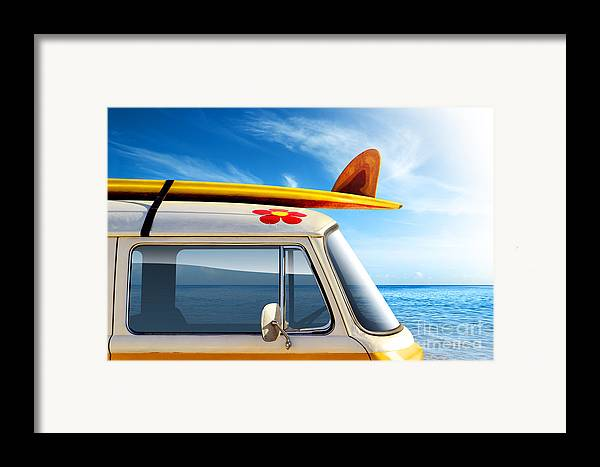60ties Framed Print featuring the photograph Surf Van by Carlos Caetano