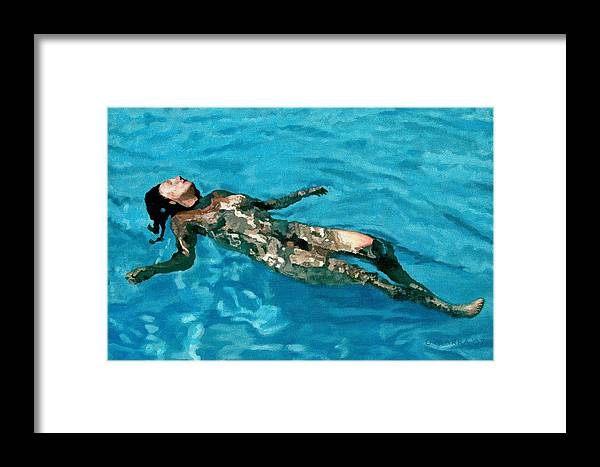 Nude Framed Print featuring the painting Surface Figure - Surrender by Allan OMarra