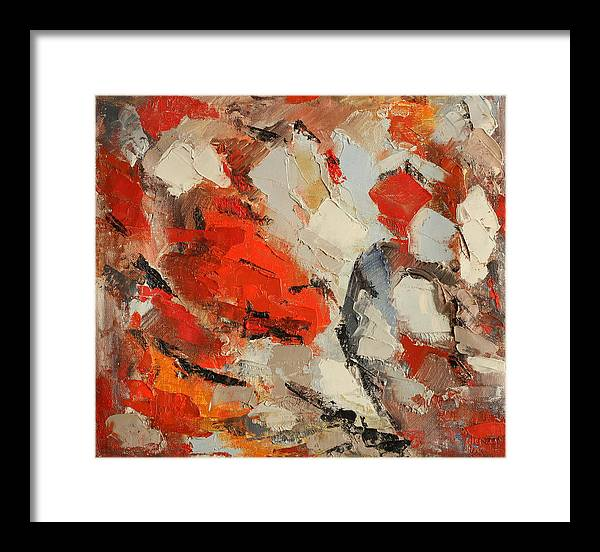 Abstract Framed Print featuring the painting Surface by Natia Tsiklauri