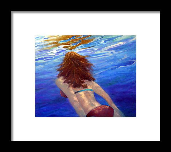 Water Framed Print featuring the painting Surfacing by Dorothy Nalls