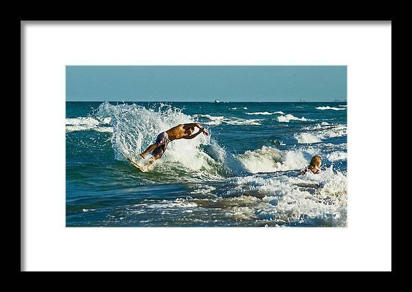 Surfing Framed Print featuring the photograph Surfboarding In Florida by Allan Einhorn