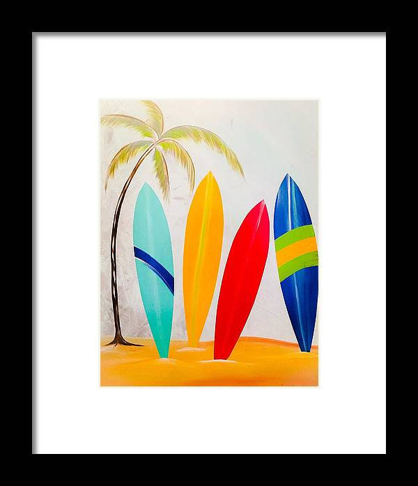 Surfboard Framed Print featuring the painting Surfboards II by Barry Knauff