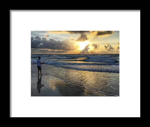 Florida Framed Print featuring the photograph Surfcaster Sunrise Delray Beach Florida by Lawrence S Richardson Jr