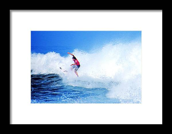 Professional-surfer-surfers Framed Print featuring the photograph Surfer Alex Ribeiro - Nbr 3 by Scott Cameron