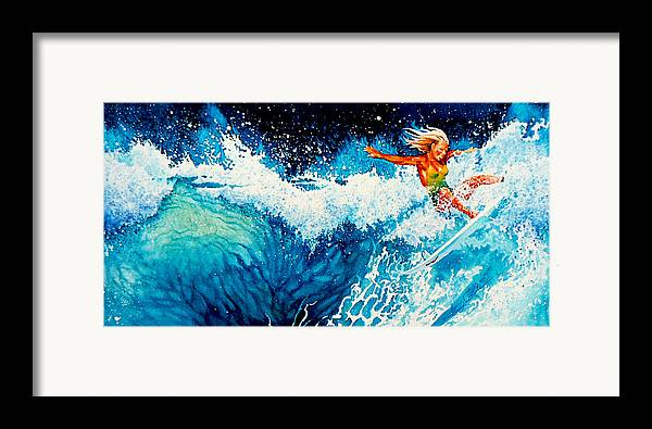 Sports Art Framed Print featuring the painting Surfer Girl by Hanne Lore Koehler