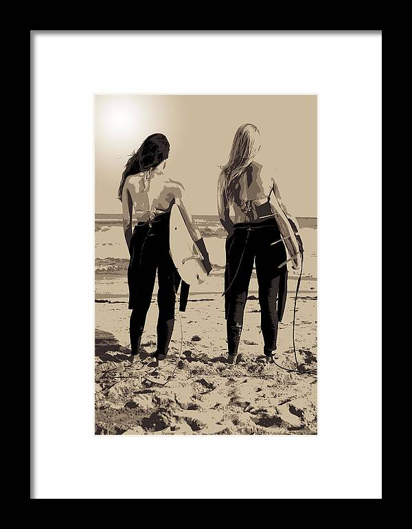 Surf Framed Print featuring the photograph Surfer Girls by Brad Scott