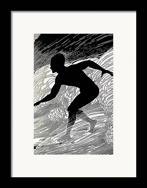 1930 Framed Print featuring the painting Surfer by Hawaiian Legacy Archive - Printscapes