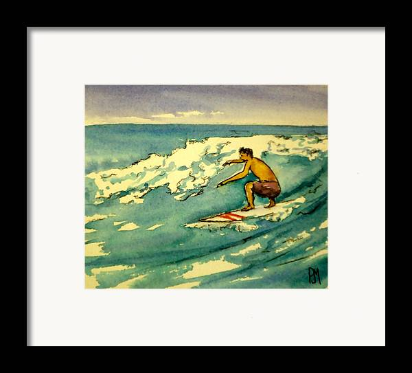 Surfing Framed Print featuring the painting Surfer In The Sky by Pete Maier