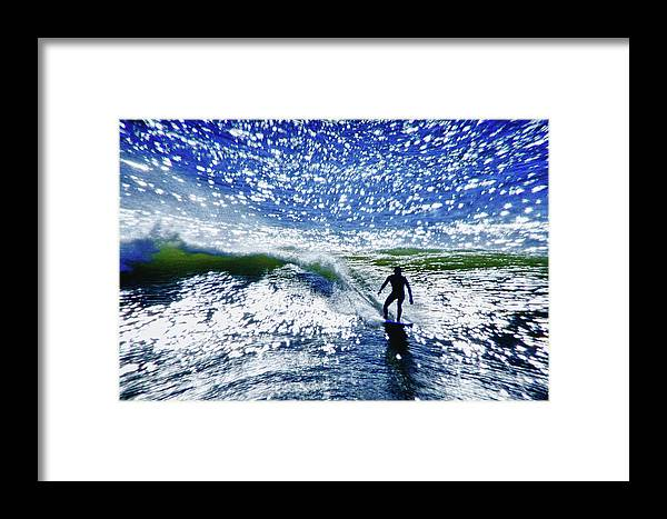 Surfer Framed Print featuring the photograph Surfer by Linda Pulvermacher