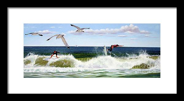 Seascape Framed Print featuring the painting Surfers by Michael Nowak