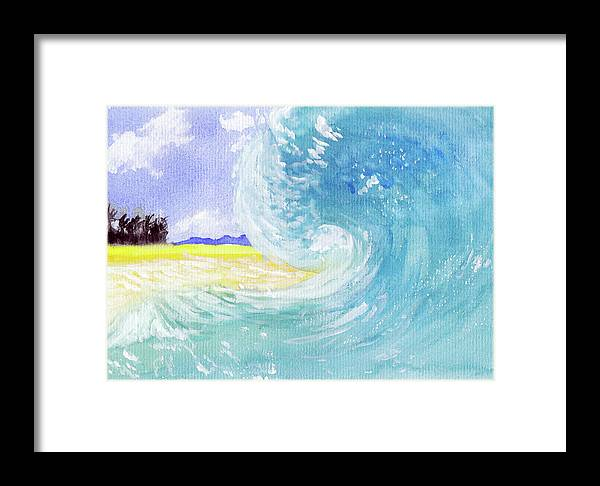 Seascape Framed Print featuring the painting Surfing Time by Xiao Zeng