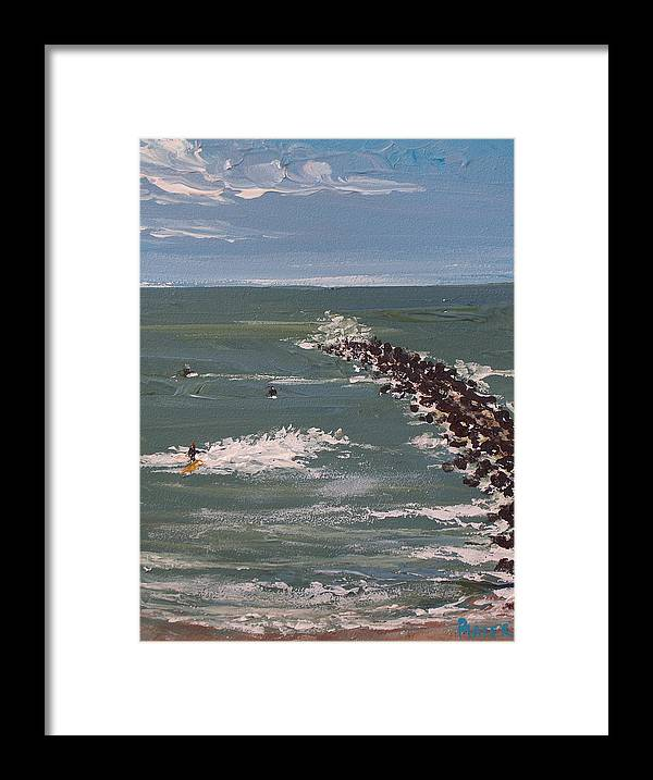 Seascape Framed Print featuring the painting Surf's Up by Pete Maier