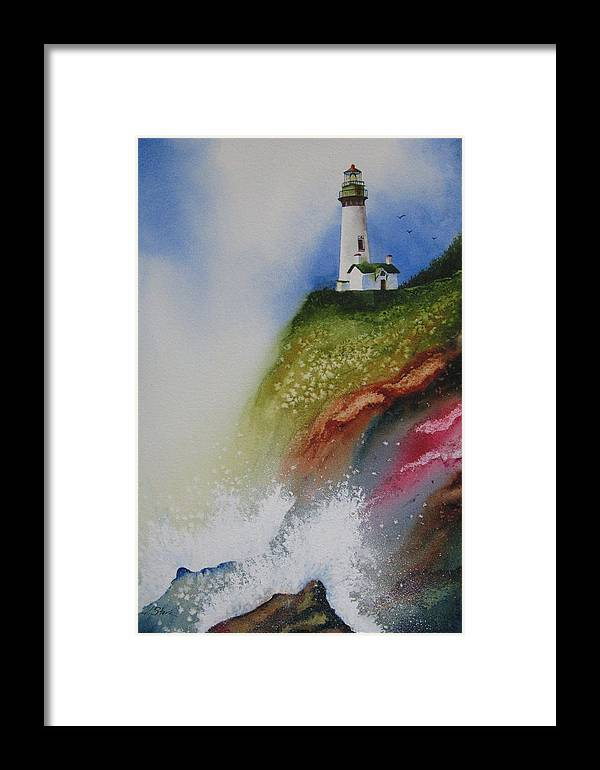 Lighthouse Framed Print featuring the painting Surfside by Karen Stark