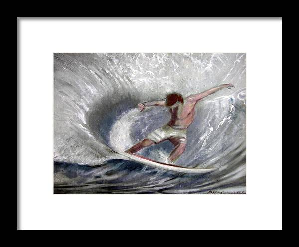 Surfing Framed Print featuring the painting Surf'sup by Patrick McClintock