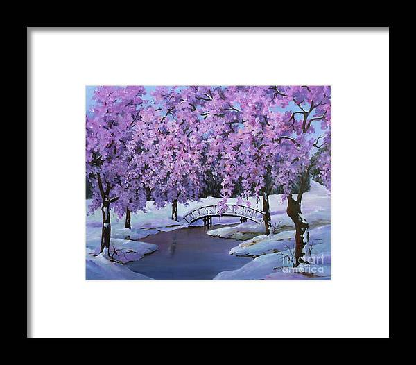 Landscape Framed Print featuring the painting Surprise At Spring Time by Marta Styk