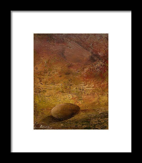 Surrealism Framed Print featuring the painting Surreal Egg On An Abstract Canvas by Dejan Roncevic