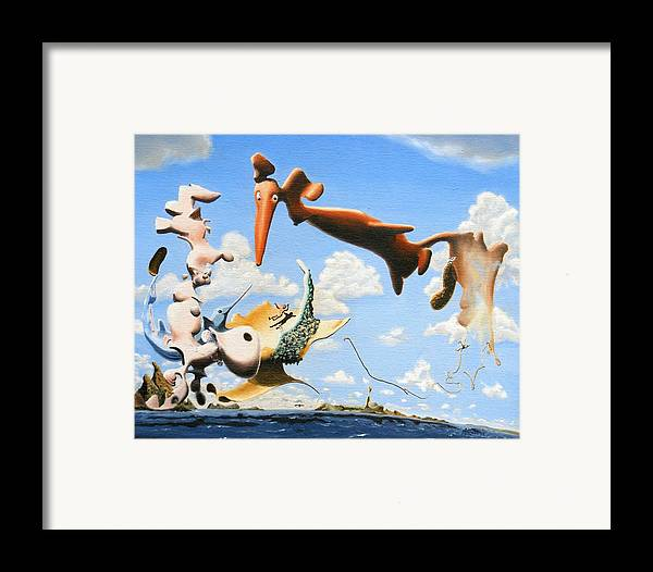 Surreal Framed Print featuring the painting Surreal Friends by Dave Martsolf