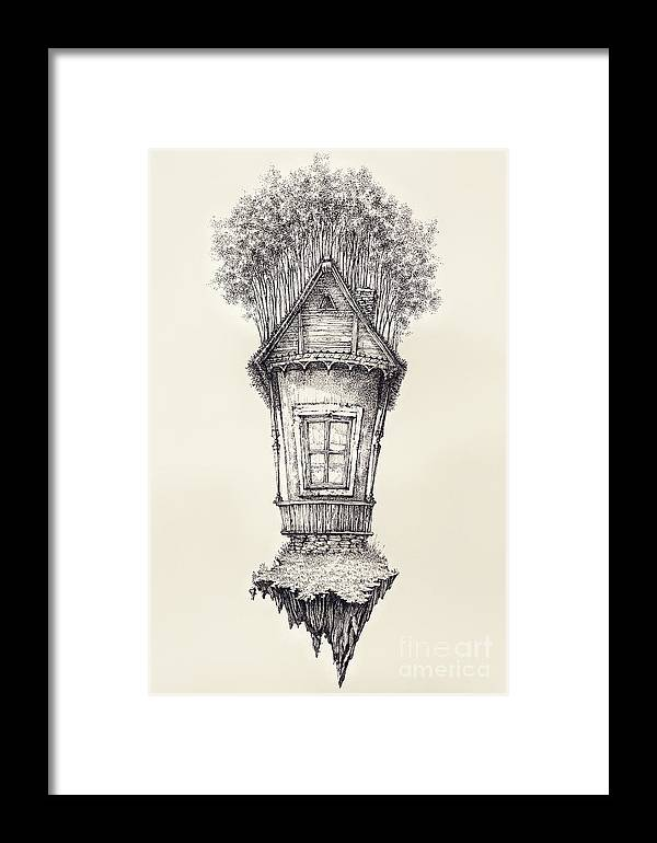 Surreal Hand Drawing Of A Small House Decorative Artwork Ceb