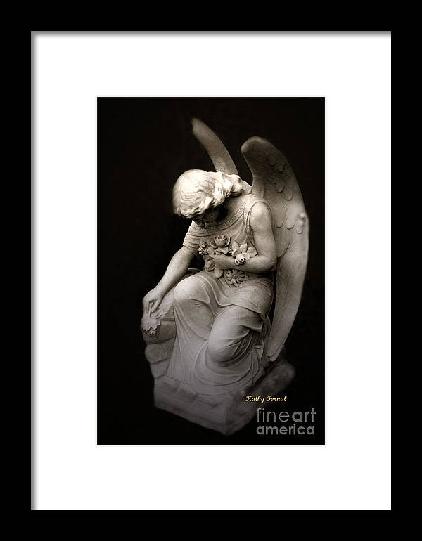 Angel Art Framed Print featuring the photograph Surreal Sad Angel Kneeling In Prayer by Kathy Fornal