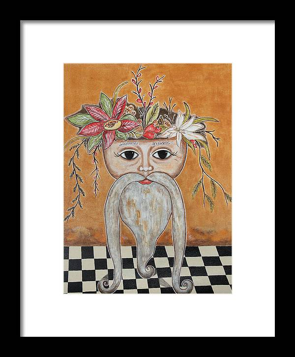 Christmas Paintings Framed Print featuring the painting Surreal Santa Bouquet 2 by Rain Ririn