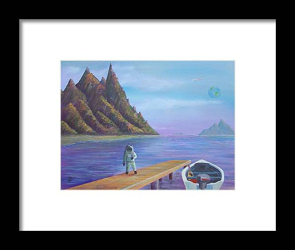 Seascapes Framed Print featuring the painting Surreal Seascape by Tony Rodriguez
