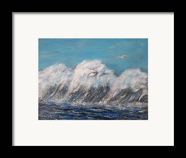 Surreal Tsunami Framed Print featuring the painting Surreal Tsunami by Tony Rodriguez