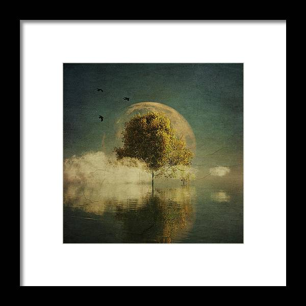 Birch Framed Print featuring the painting Surrealistic landscape with yellow birch and full moon by Jan Keteleer