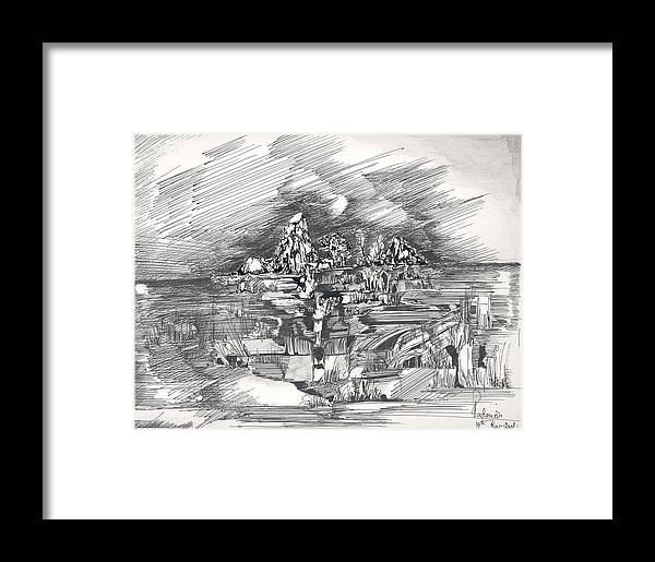 Surreal Framed Print featuring the drawing Surrealscape 3 by Padamvir Singh
