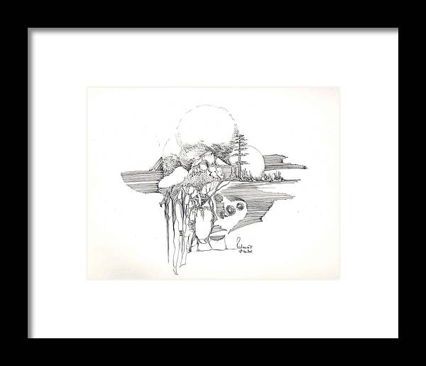 Rocks Framed Print featuring the drawing Surrealscape 4 by Padamvir Singh